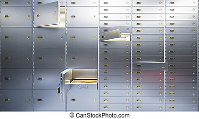 open bank safe doors 3d illustration