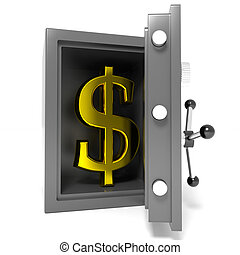 Open bank safe with gold dollar sign inside.