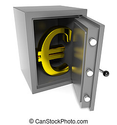 Open bank safe with gold euro sign inside.