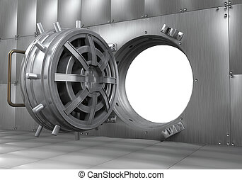 Open Bank Vault Door. 3D render