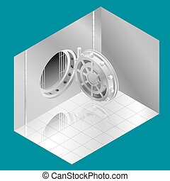 Open Bank Vault Door. Isometric vector illustration. Can be used for workflow layout, game, diagram, number options, web design and infographics.