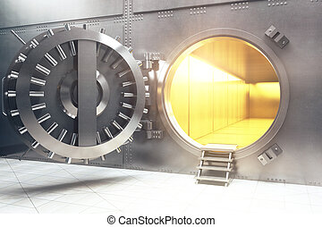Open bank vault