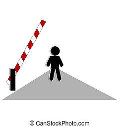 Open Barrier - Symbolic person beside open barrier on road