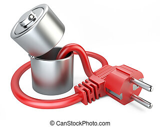 Open battery charger with plug.
