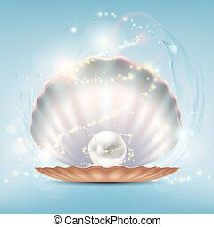 Open beautiful shell with a precious pearl. Stock vector...