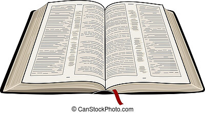 A vector illustration of an open Bible, isolated on a white background.