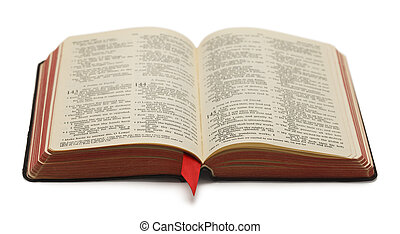 Black Bible With Red Pages Open and Isolated on White Background.