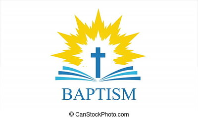 Open bible logo on the background of the cross and the flame of the Spirit, art video illustration.