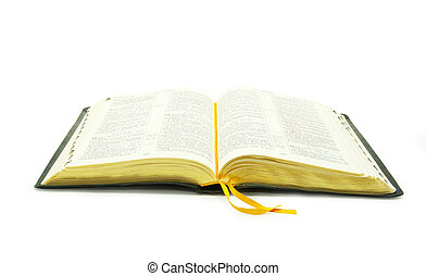 open bible - The opened bible is isolated on a white ...
