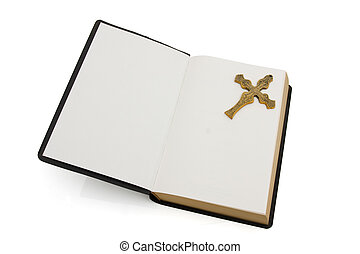 Open bible with a cross isolated on white