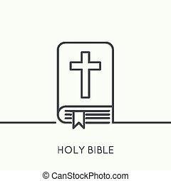 Open Bible with a crucifix. - Bible with a crucifix. Symbols...