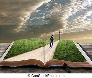 Open bible with man and cross - An open bible with grass and...