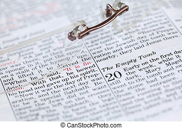 Open Bible with selective focus on the text in John 20 about Jesus\' resurrection. Shallow DOF