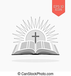 Open bible with sun and cross icon. Church logo concept. Flat design gray color symbol. Modern UI web navigation, sign.