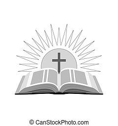 Open bible with sun and cross icon. Church logo concept. Symbol in trendy flat style isolated on white background.