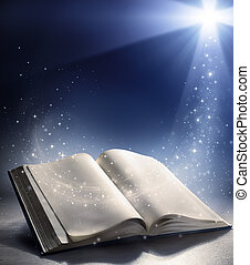 Open Bible with the wind of God