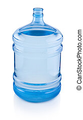 Open big bottle of water isolated on a white background