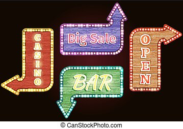 Open, big sale, casino, bar retro neon signs vector set