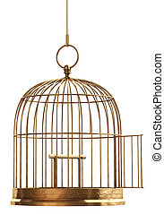Open Bird Cage - An open brass birdcage hanging on a string...