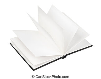 Open black book isolated on white background
