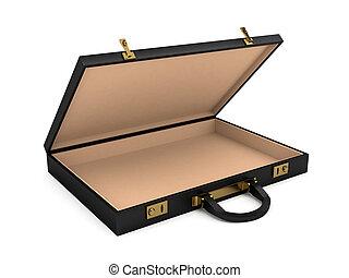 Open black case over white background