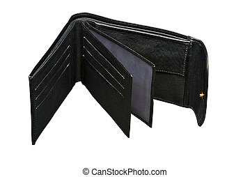 Open Black leather wallet ( clipping path )