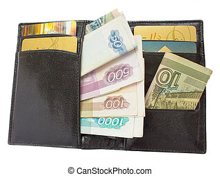 open black purse with russian money