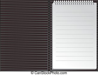Open black striped notebook in lines