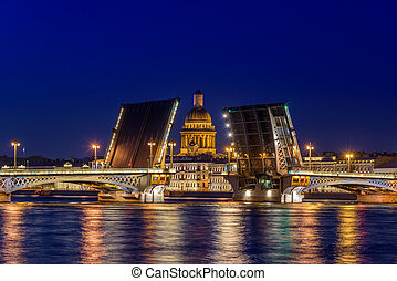 Open Blagoveshchensky Bridge with Saint Isaac's Cathedral