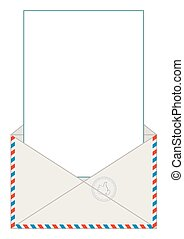 Open blank airmail envelope with rubber stamp