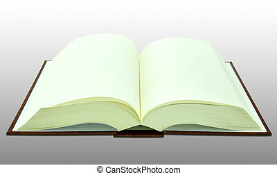 Open blank book on white with clipping path