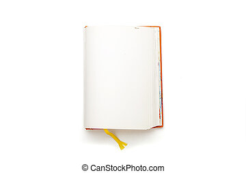 open blank diary with yellow bookmark, isolated on white