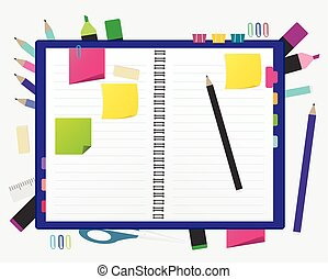 Open blank note book with some stickies and pencil isolated on a white background.