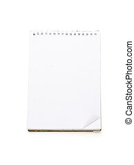 open blank note pad with ring binder, isolated on white