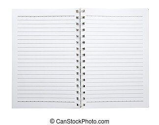 open blank notebook isolated (clipping path)
