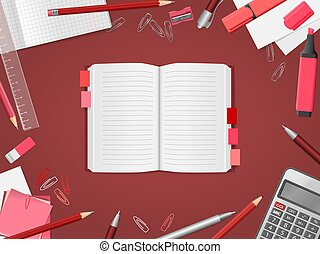 Open blank notebook with school supplies