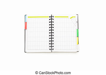 open blank personal organizer with binder, isolated on white