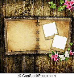 Open blank vintage book on wooden table