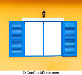 open blank window frame on wall with lamp, blue color