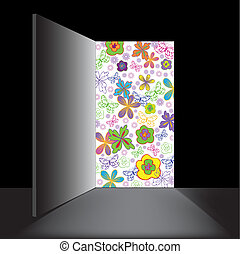 open, bloemen, deur