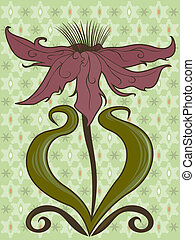 Open Bloom - Stylized flower with long, open petals and...