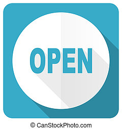 open blue flat icon