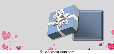 Open blue gift box top view