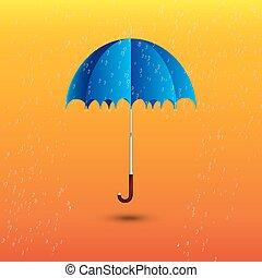 open blue umbrella under rain