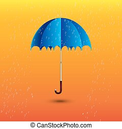 open blue umbrella under rain