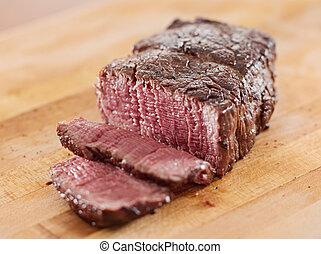 open., boeuf, -, filet, coupé, cuit, bifteck