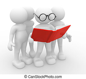 Open book - 3d people -human character, person and a open...