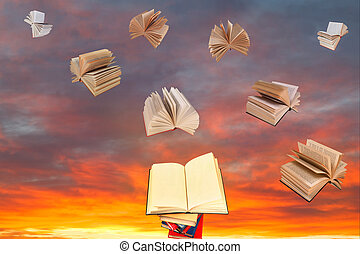 open book above of stack of books and sunset sky with flying books background