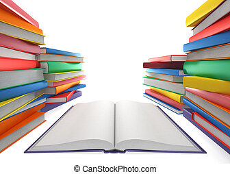 Open book and a stack of books on white background