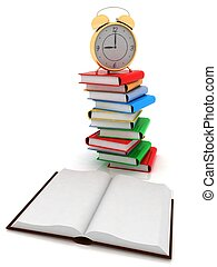 open book and alarm clock on the pile of books are isolated...